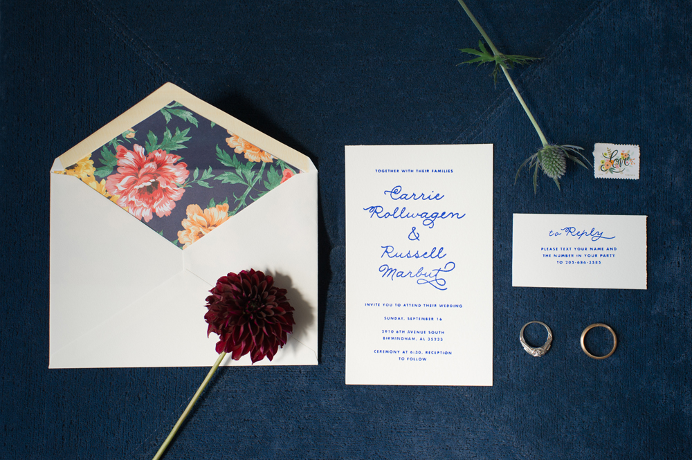 rubber stamped wedding invitations