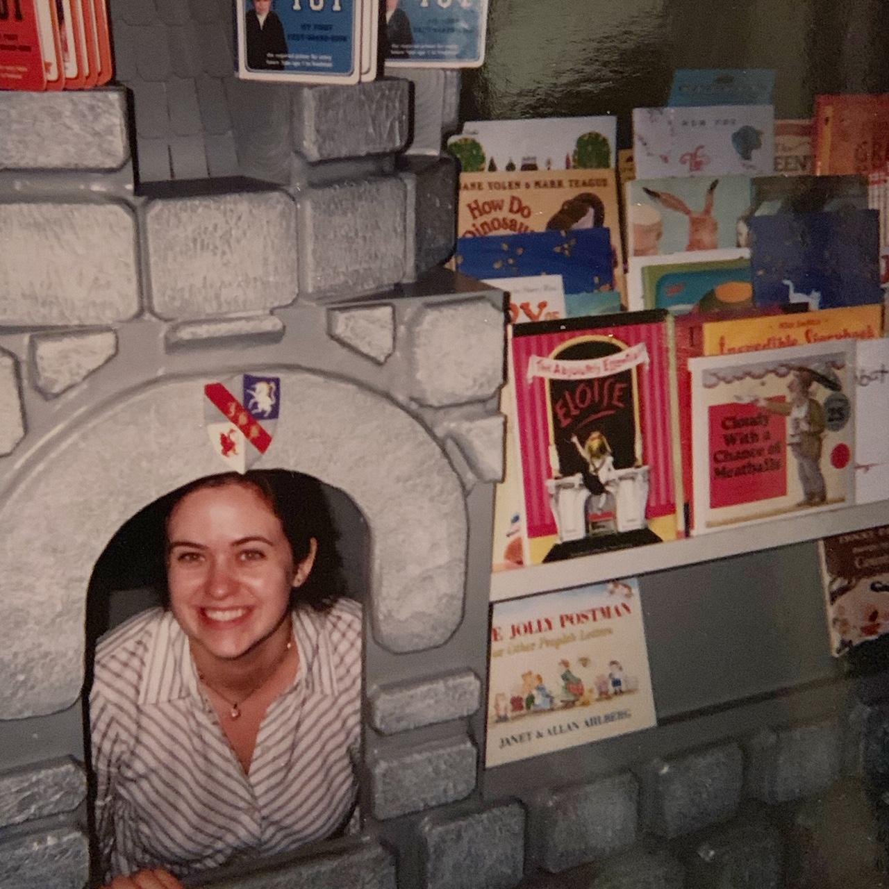 girl in book castle