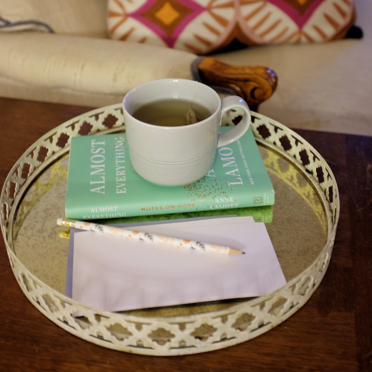 books and tea on a tray