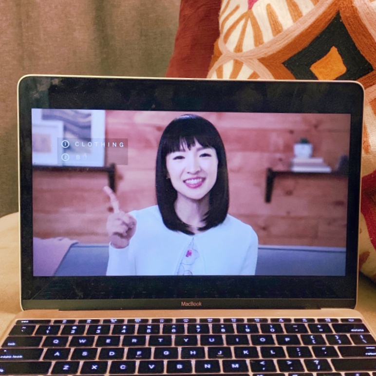 marie kondo on netflix playing on computer