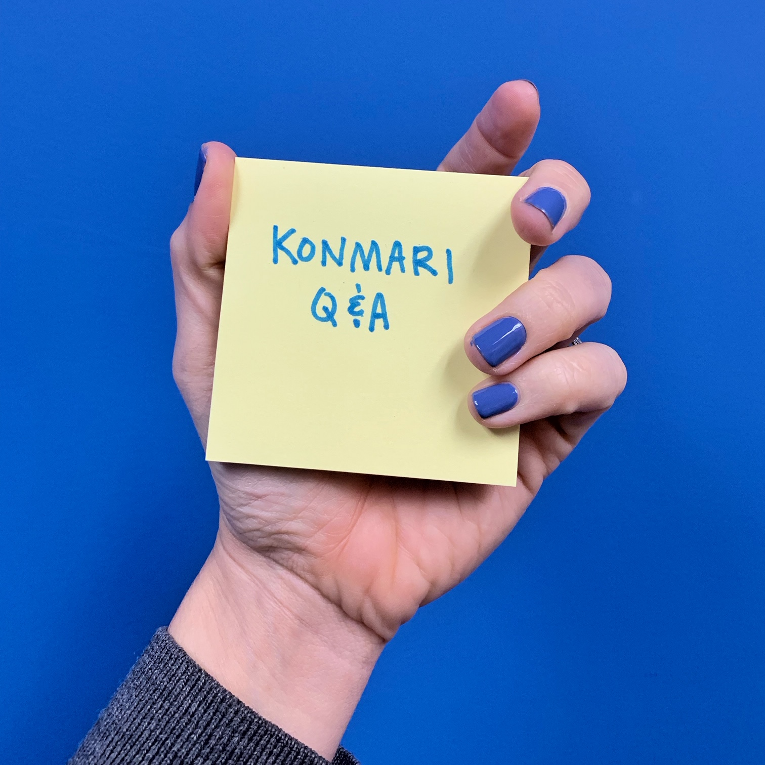 post it note reading konmari q & a