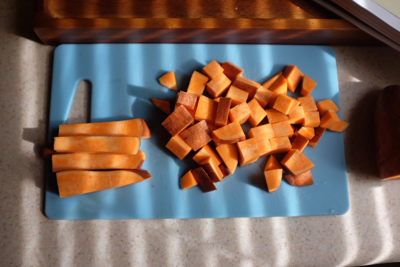 chopped sweet potatoes