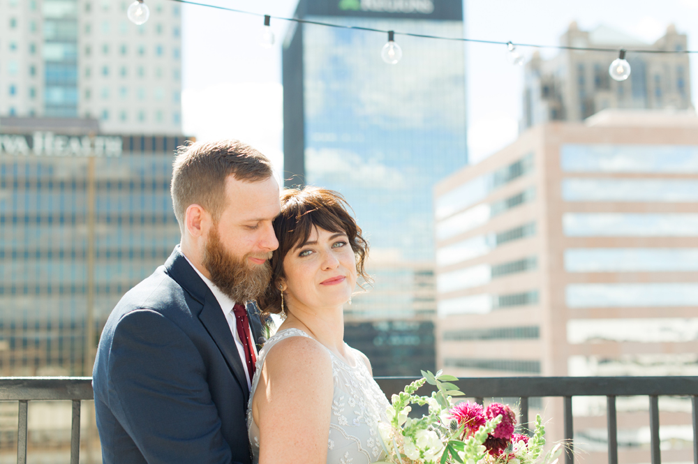 downtown birmingham bride and groom