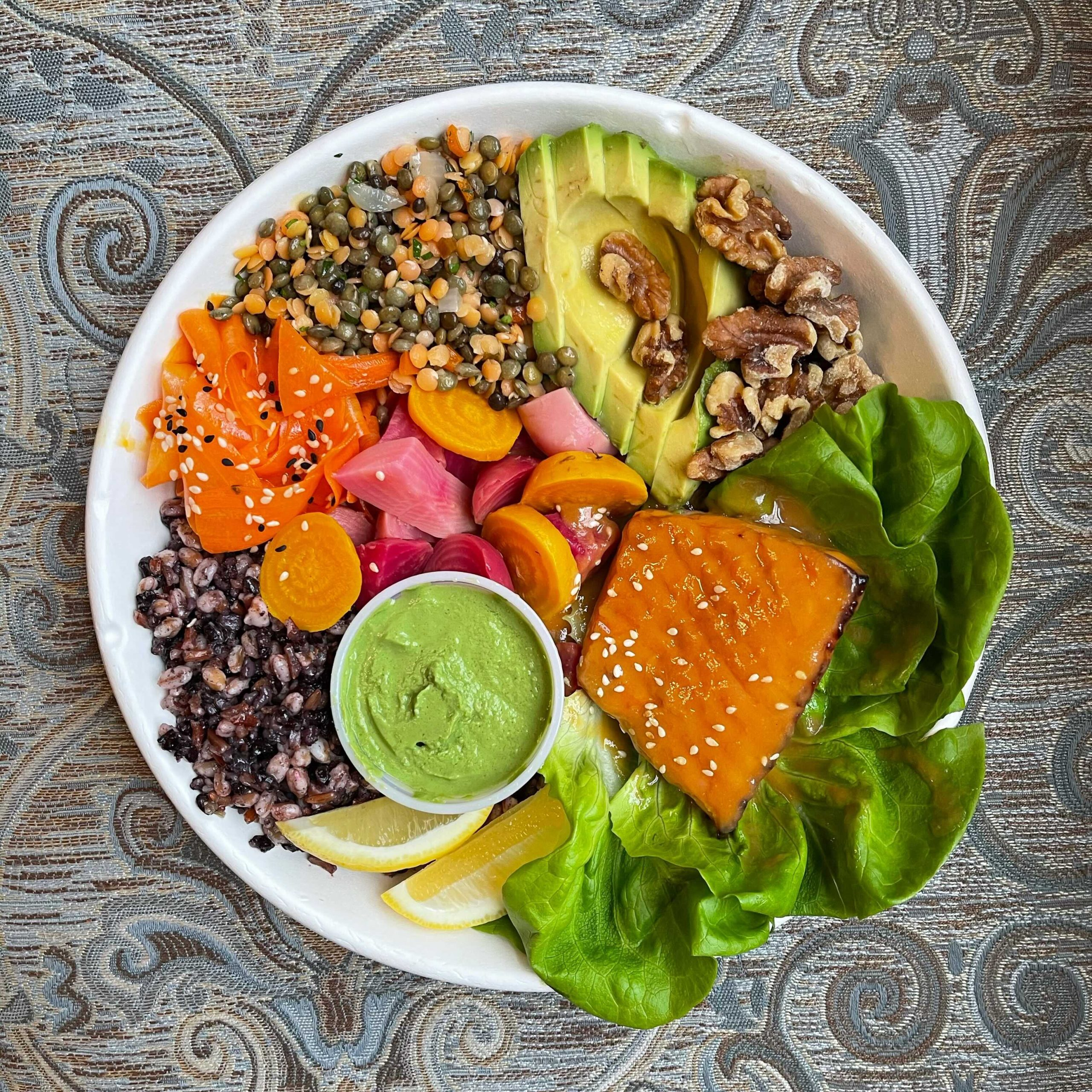salmon bowl with green goddess dressing from bowl birmingham